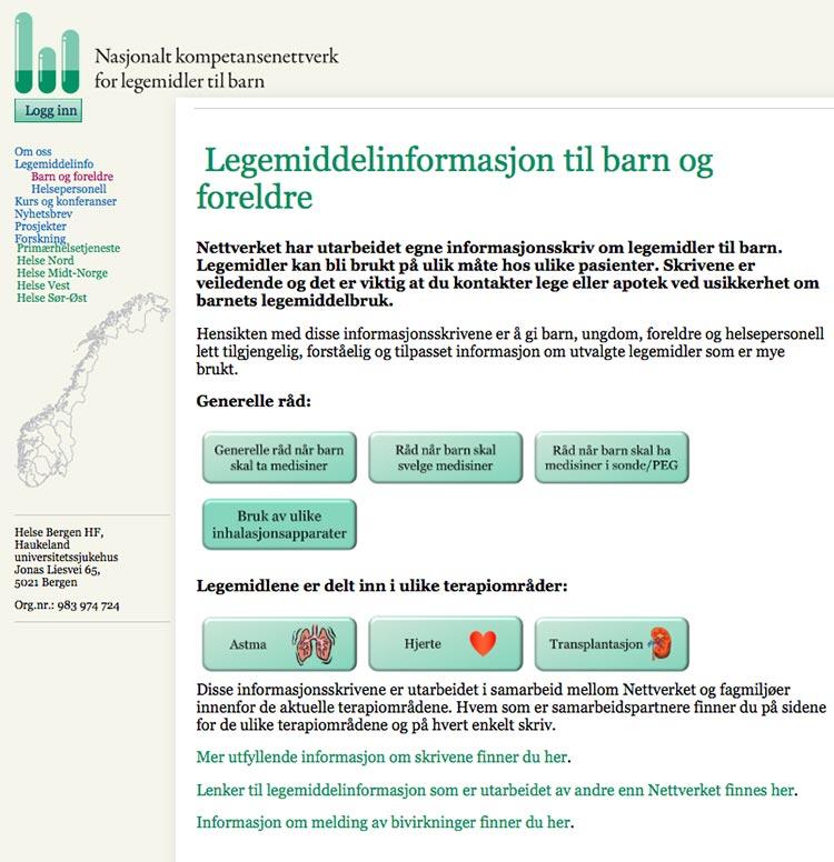 Illustrasjon 2: Nettverkets informasjonsskriv om legemidler til barn.