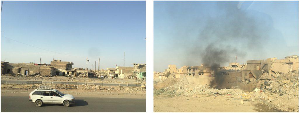 Det var store ødeleggelser og fortsatt støv fra bombekastere og artilleri i luften da Monica ankom Mosul i juli.