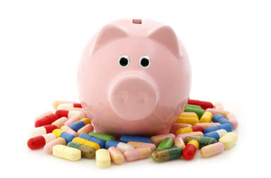 Piggy bank with medicines.