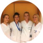 Fire medisinstudentar ved UiB, i praskis ved barneavdelinga i Førde: Sunniva, Aida, Hildegunn og Cecilie